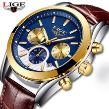 Relogio Masculino LIGE Mens Watches Top Brand Luxury Gold Blue Sport Watch Men C