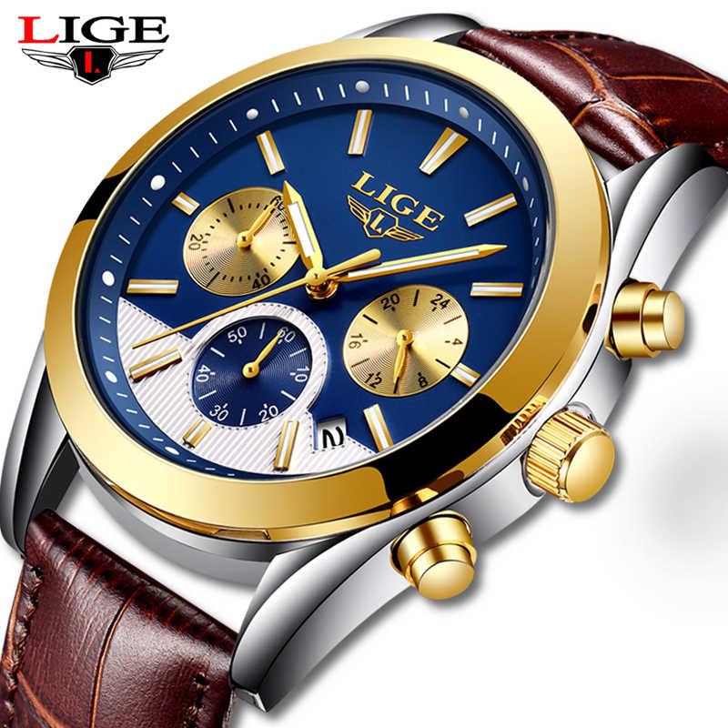 Reloj Masculino LIGE para hombre reloj deportivo de lujo azul dorado para hombre reloj de moda clásico para hombre reloj de cuarzo con fecha resistente al agua
