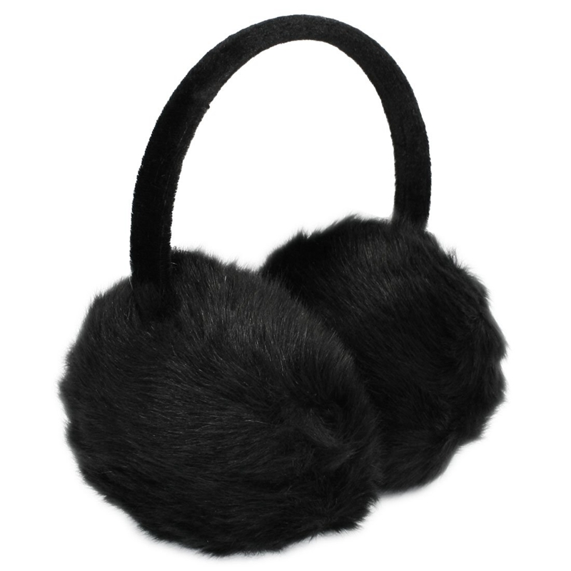 New  Lady Woman Headband Black Faux Fur Winter Ear Cover Earmuffs