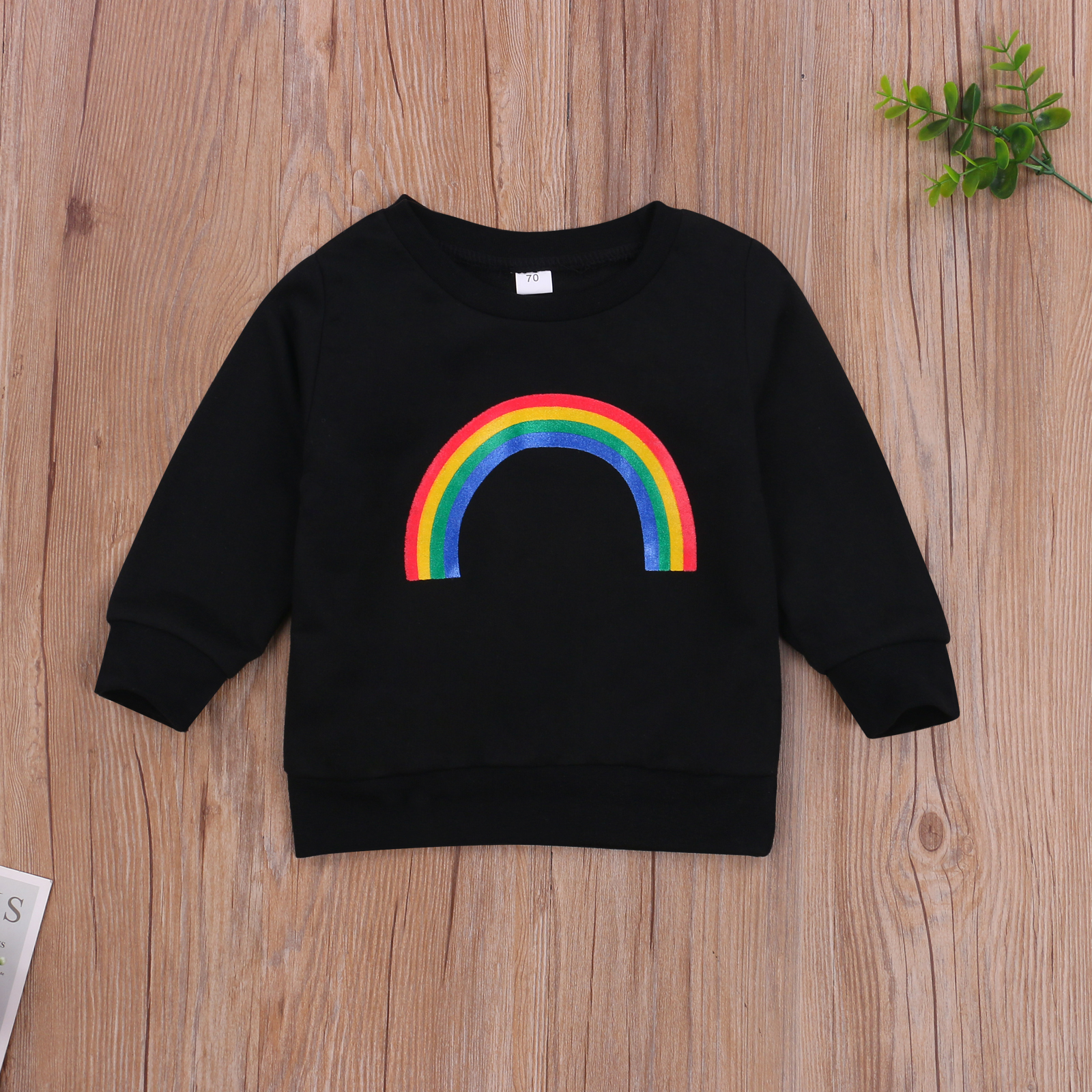 Pudcoco 2020 Autumn 0-3Y Toddler Baby Girl Boy Rainbow Pattern Print Long Sleeve Sweatshirt Infant Outfit Clothes White/Black 4