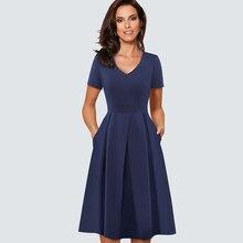 Kadınlar Vintage Fit ve Flare salıncak rahat pilili patenci ofis parti elbise HA126
