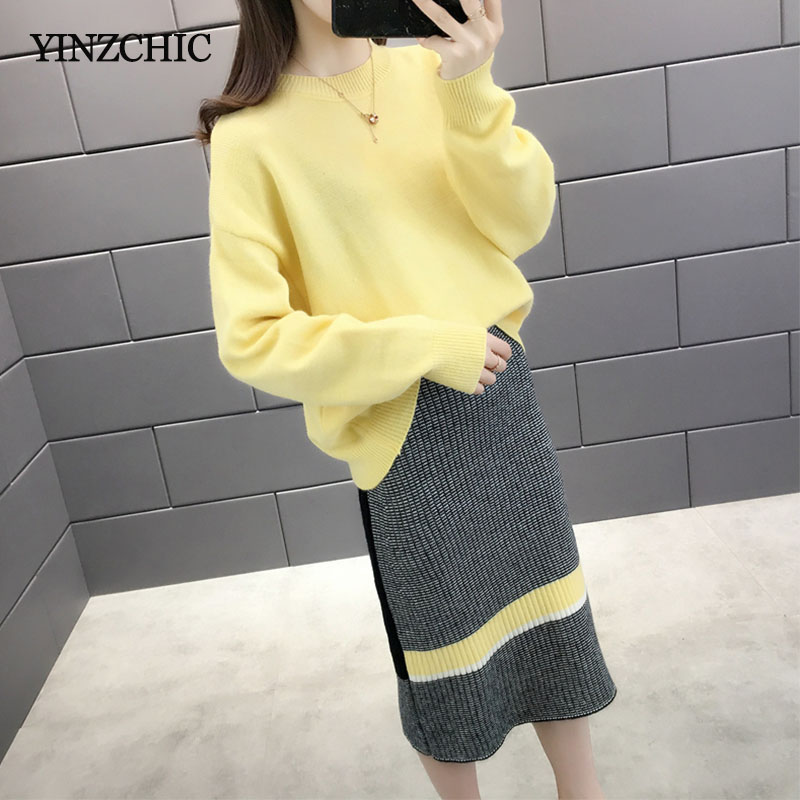 Woman Knitted Sweater Skirt Suit Autumn New Female Casual Two Pieces Sets Winter Warm Woman Loose Sweater Pencil Skirt Suits