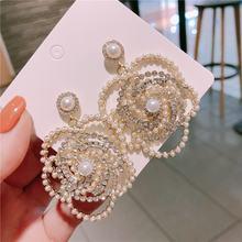 Роскошные брендовые дизайнерские Кристальные жемчужные серьги