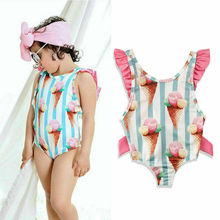 Top Bikini Bathing-Suit Ruffle Swimwear One-Piece Baby-Girl Fashion Sleeveless Beachwear