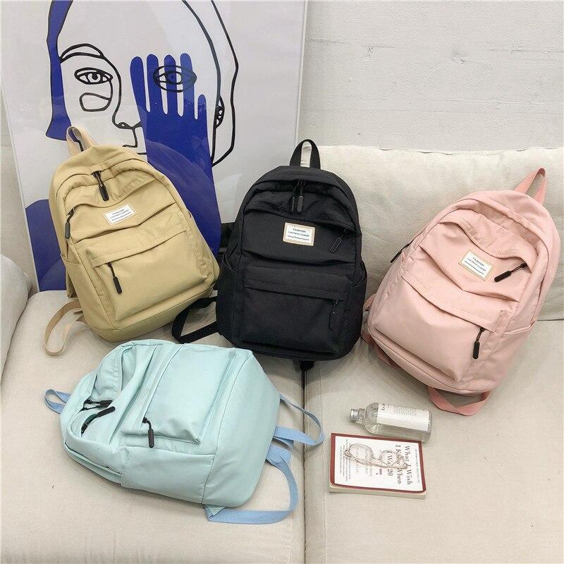 Black Waterproof Nylon Women Backpack Female Large Capacity High Schoolbag Korean Vintage Girl Shoulder Bags Travel Bag Mochila