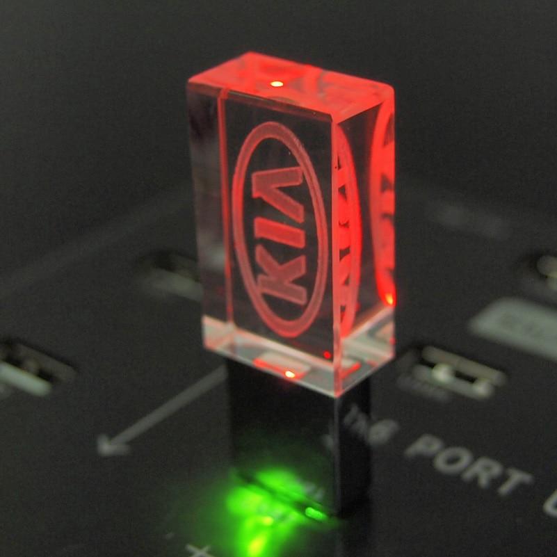 Кристалл USB флэш-накопитель светодиодный KIA Логотип Автомобильный, металл Pendrive 2,0 карта памяти 4 ГБ 8 ГБ 16 ГБ 32 ГБ 64 ГБ 128 ГБ подарок (более 10 шт б...