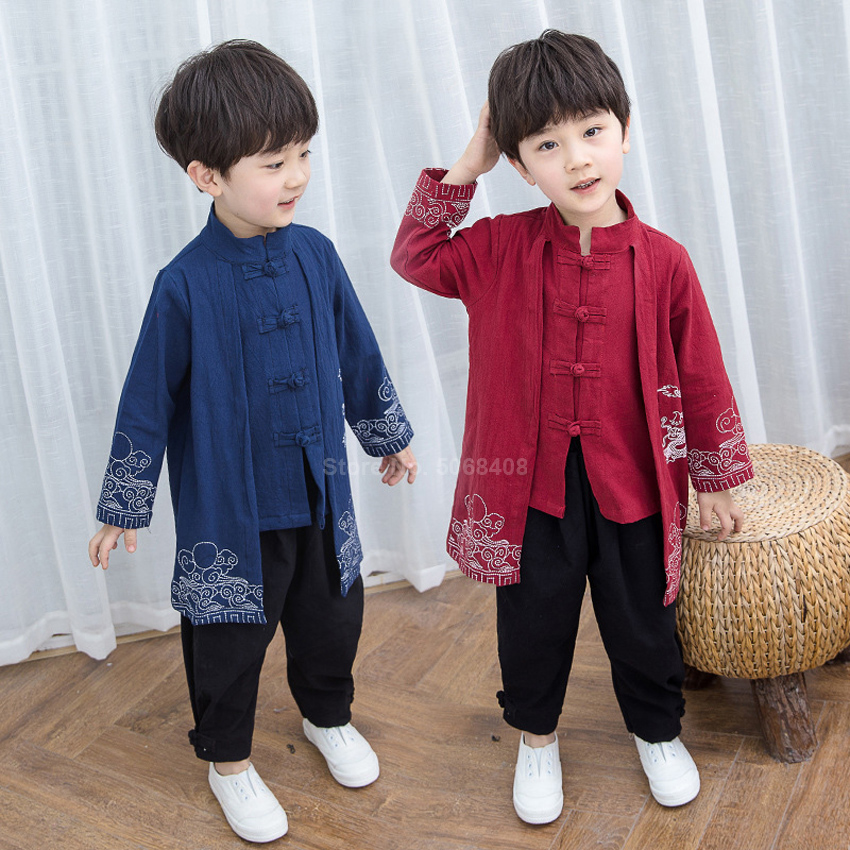 Long Sleeve Linen Chinese Tang Suit For Kids Boy Girl New Year Hanfu Dragon Embroidery Traditional Vintage Shirt Pants Clothing