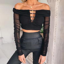 Autumn Sexy Black Off Shoulder Lace Blouse Top Women Hollow Out Lace Blouse Slash Neck Long Sleeves Ladies Shirt Tops Streetwear black off shoulder long sleeves lace detail playsuits