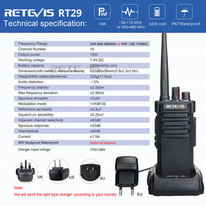 Image 5 - RETEVIS RT29 IP67 עמיד למים מכשיר קשר 10pcs UHF / VHF VOX שתי דרך רדיו משדר + כבל עבור חוות מחסן מפעל