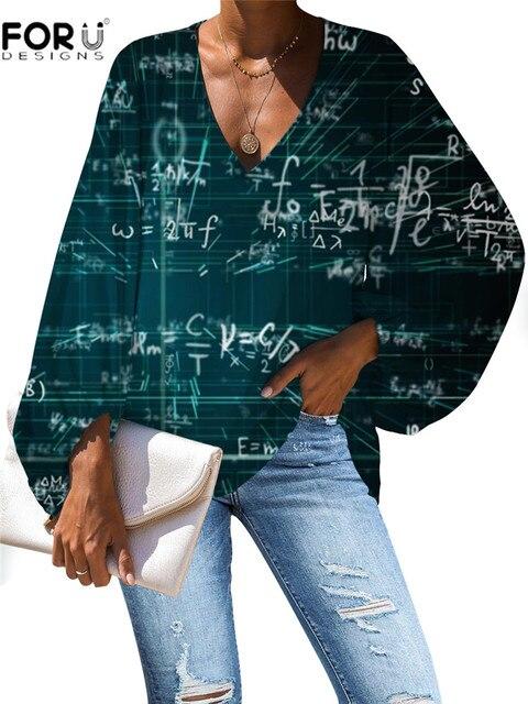 FORUDESIGNS Women Blouse Vogue Style 3D Math Formula Print Blouse V-Neck Long-sleeved Work Batwing Sleeve Loose Shirt 2
