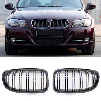 Double Slat Sport Style Gloss Black Gloss Black Double Slat Kidney Grille Grill for BMW E90 3 Series Sedan LCI 09-11 Accessories image