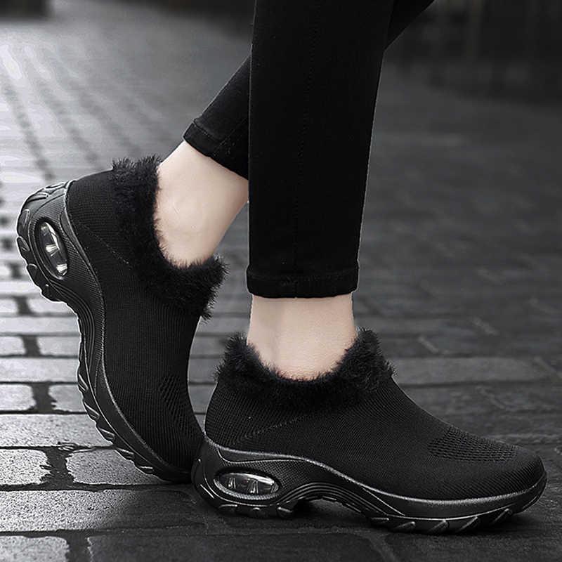 Kış Sneakers bayan ayakkabıları Flats platformu çizmeler peluş sıcak yürüyüş botları Flyknit ayakkabı kadın kama ayakkabı büyük boy 42