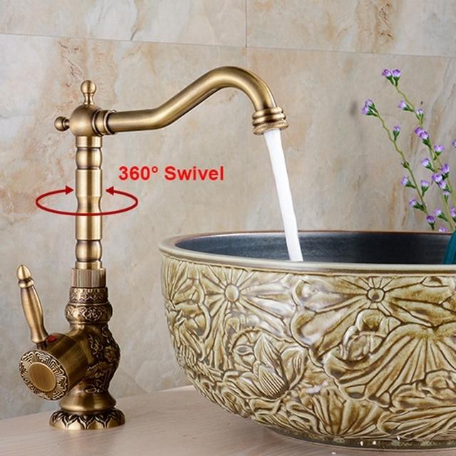 Antique Brass Bathroom Basin Carved Faucet Longnose Spout Wash Sink Tap 360 Rotation Single Handle Mixer Tap