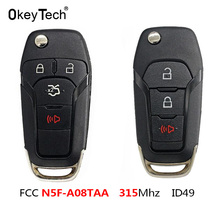 OkeyTech 3/4 Nút Flip Remote Khóa Móc Treo Chìa Khóa Fob Hitag Pro Cho Ford Fusion 2013 2015 FCC ID: n5F A08TAA 315MHz Với 49 Chip