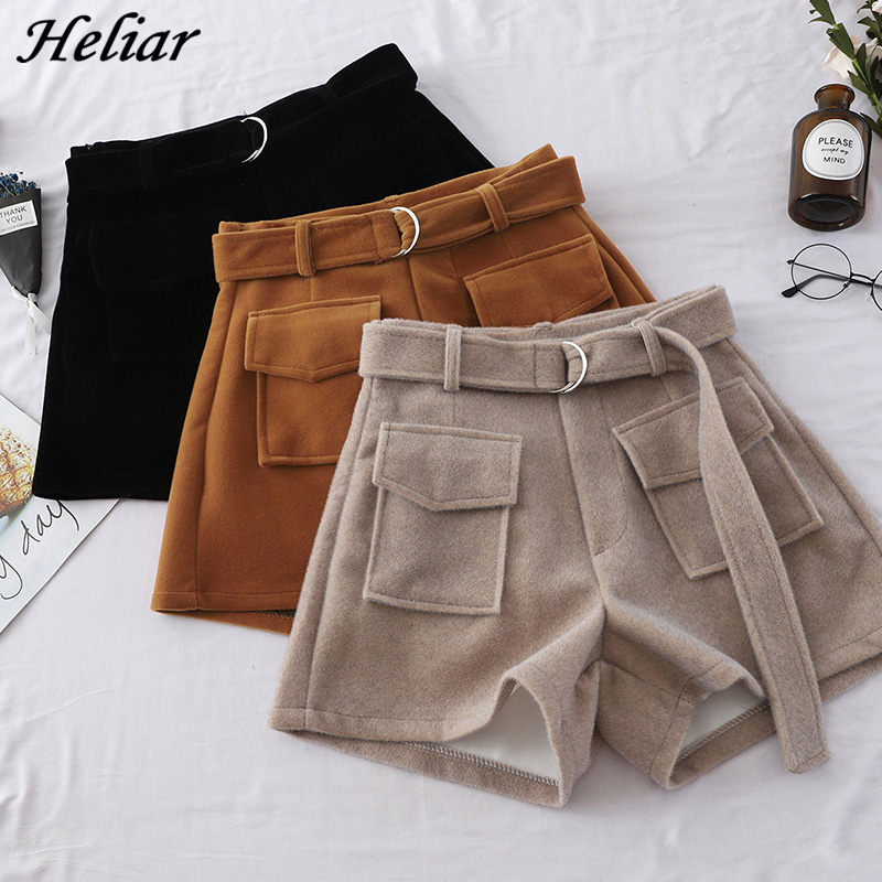 HELIAR Women Wide Legs High Waist Wool Shorts Casual Fashion Korean Shorts Belt Shorts 2019 Autumn Winter Shorts With Pockets