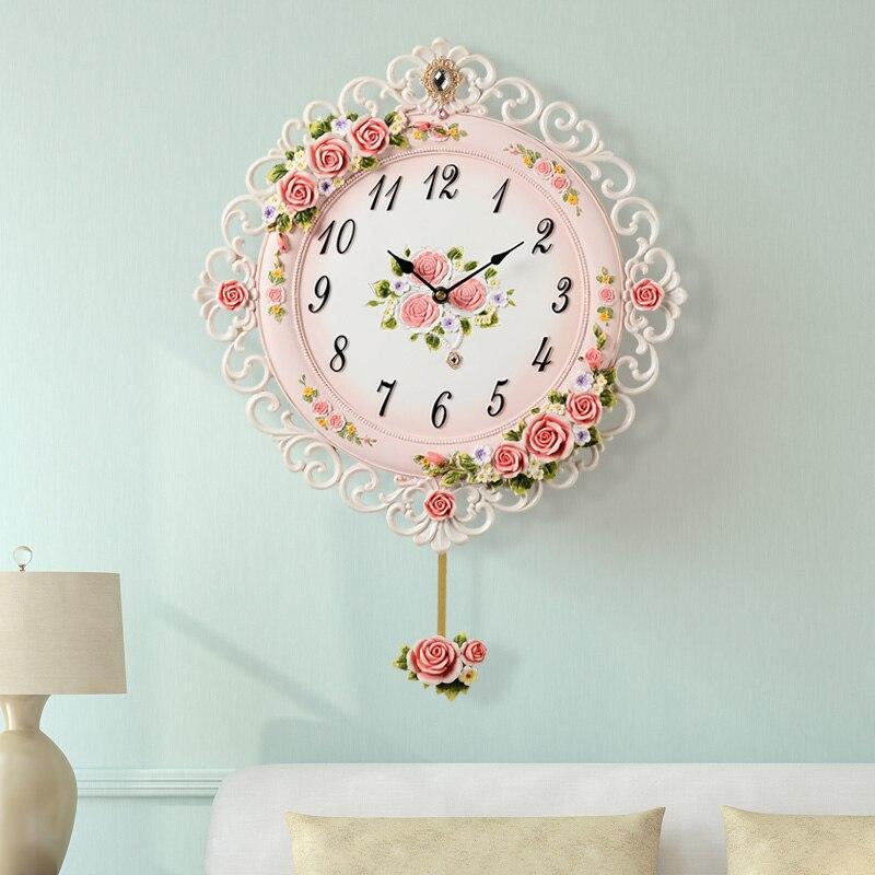 Nordic Wall Clock Modern Large Pink Flower Living Room Luxury Bedroom Swing Pendulum Clock Wall Hidden Stash Reloj Decor SC295 Wall Clocks     - title=