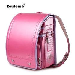 Coulomb Children Backpack For Boy And Girl Japanese School Bag PU Hasp Patchwork Kid Randoseru Student Bookbag Orthopedic 2018