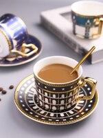 Novo estilo arquitetônico conjunto de café caneca de café britânico conjunto de luxo xícara de café e pires colher conjunto chá conjunto doméstico xícara de chá conjuntos