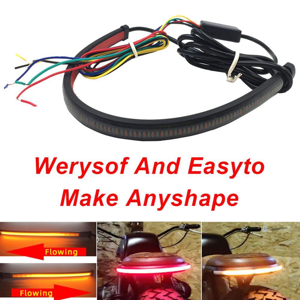 Dropshipping Motorcycle Light Bar Strip Tail Brake Stop Turn Signal License Plate Light IP67 Integrated LED Red Amber Color CSV