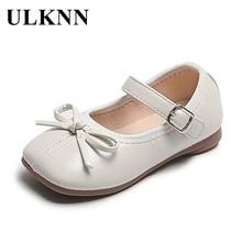 Shoes Children's Flats Moccasin-Gommino ULKNN Girls' New Bow Autumn Korean-Style Soft-Bottom