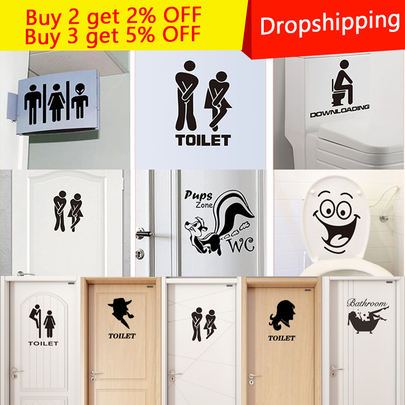 New Cartoon DIY Funny Smile Bathroom Wall Stickers Toilet Home Decoration Waterproof Wall Decals For Toilet Sticker wall Decor(China)