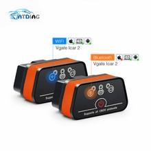 Vgate iCar 2 Bluetooth 327 lecteur de Code, outil de Diagnostic de voiture, pour IOS iPhone/Android, prise OBD2, Wifi/Bluetooth, ELM327