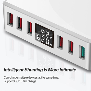 Image 2 - 6 Ports USB Charger QC 3.0 Fast Charging Smart LCD Digital Display Multi Port Travel Charger Station Quick Charge USB Charging