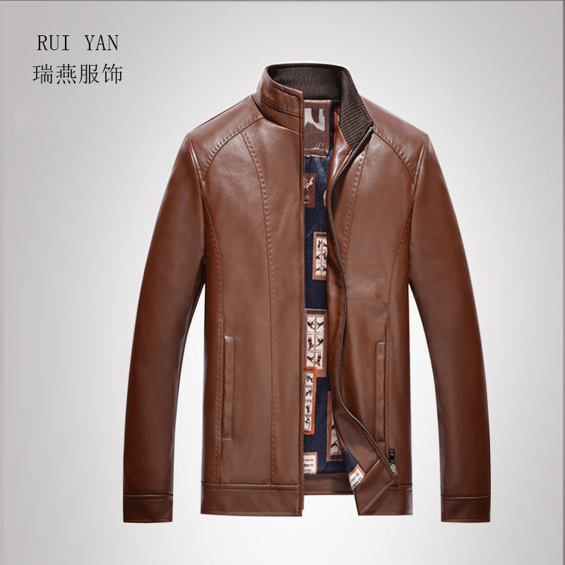 2018 Thick Middle-aged Leather Coat Men'S Wear PU Leather Jacket MEN'S Leather Coat Fur