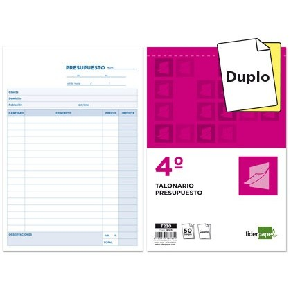CHECKBOOK LIDERPAPEL BUDGET ORIGINAL AND QUARTER COPY T230 10 Units