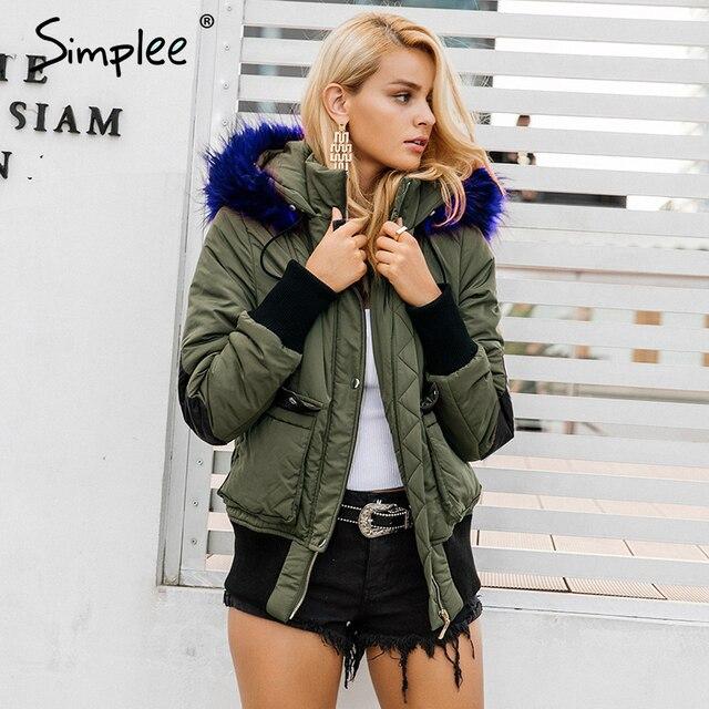 Simplee Hood padded parka winter jacket women coat Fur warm pocket zipper winter overcoat Snow wear thick jacket coat female 2