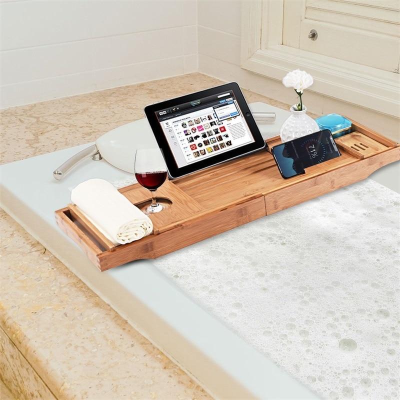 Yüksek kaliteli doğal bambu Premium lüks küvet uzatılabilir su geçirmez taraflı Caddy tepsi sabunluk çok amaçlı banyo tepsisi|Küvet Tepsileri|   -