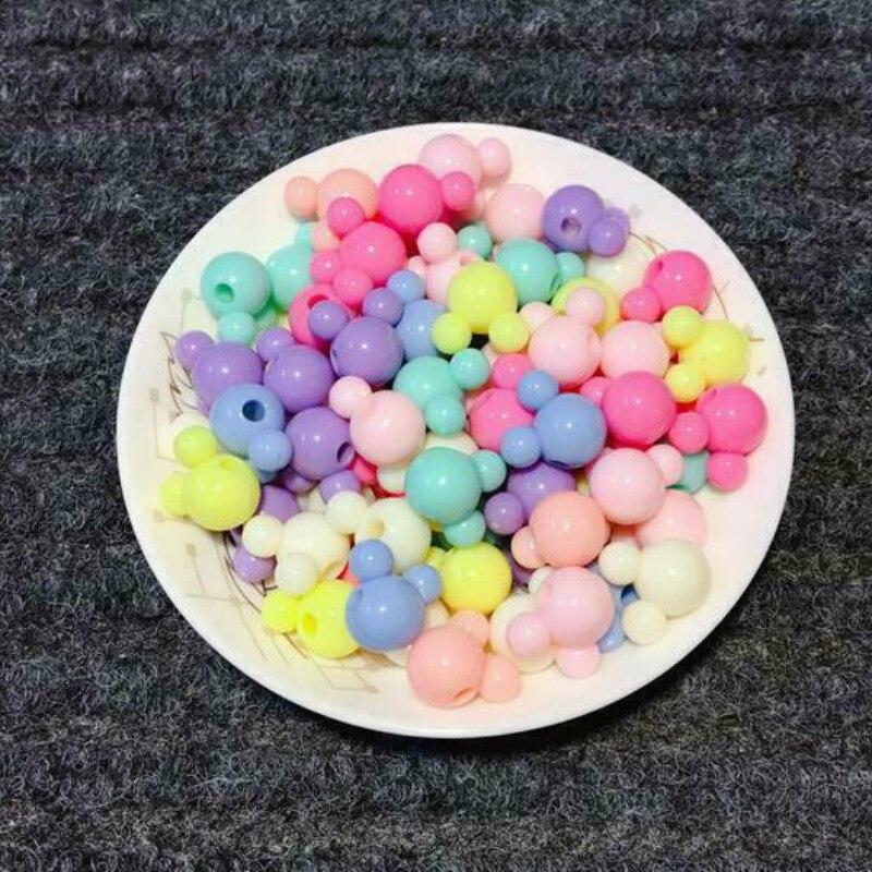 100 шт Смешанные Микки акриловые бусины DIY соски с цепочкой, ювелирное изделие для детей аксессуар 15 мм
