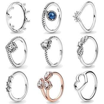 Pulido abierto amor, corazón, estrellas Tiara Wishbone pulido formas de corona con anillo de cristal 925 plata esterlina DIY joyería