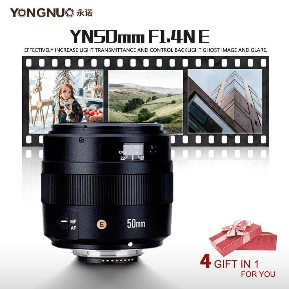 YONGNUO YN50MM 50MM F1.4N F1.4 E Standard Prime Lens AF/MF for Nikon D7500 D7200 D7100 D7000 D5600 D5500 D5300 D5200 D5100-in Camera Lens from Consumer Electronics    1
