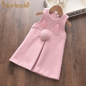 Bear Leader Girls Winter Dress 2020 New Autumn Kids Girl Sweet Dresses Cartoon Cat Outfits Sleeveless Children Clothing 2 6Y