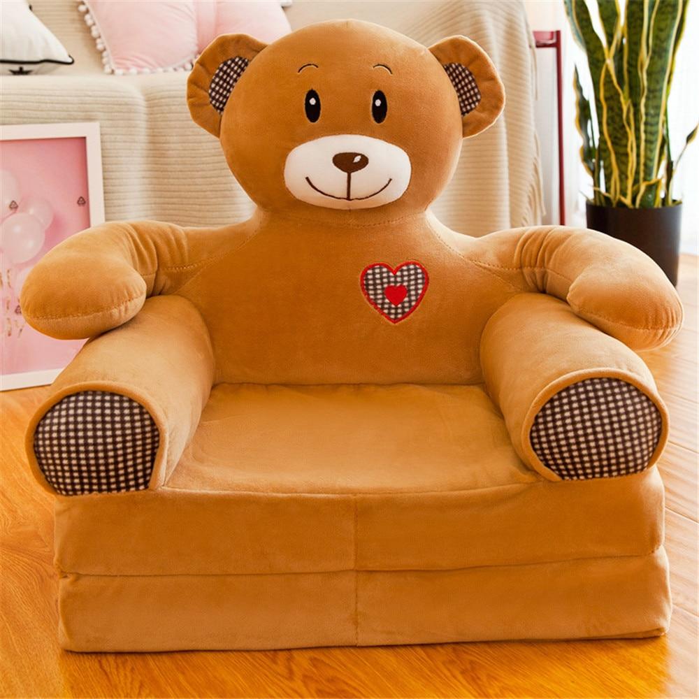 Baby Kinder sofa Nur Abdeckung KEINE Füllung Cartoon Crown Sitz Kinder Stuhl Ordentlich Puff Haut Kleinkind Kinder Abdeckung für Sofa klapp