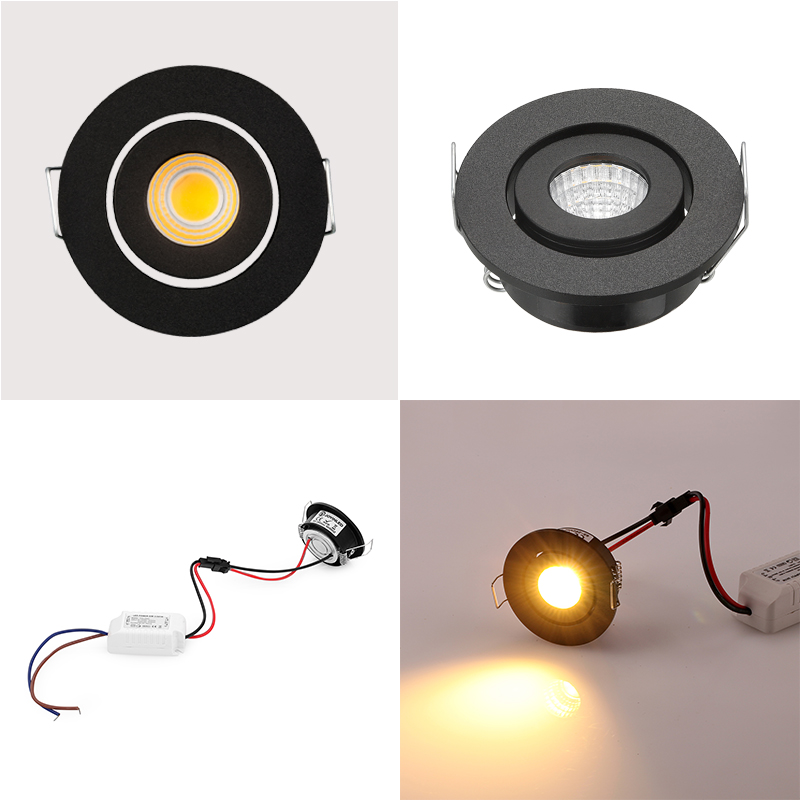 2016 CE ROSH warna hitam 3 * 1 W putaran mini cob led spo Downlight