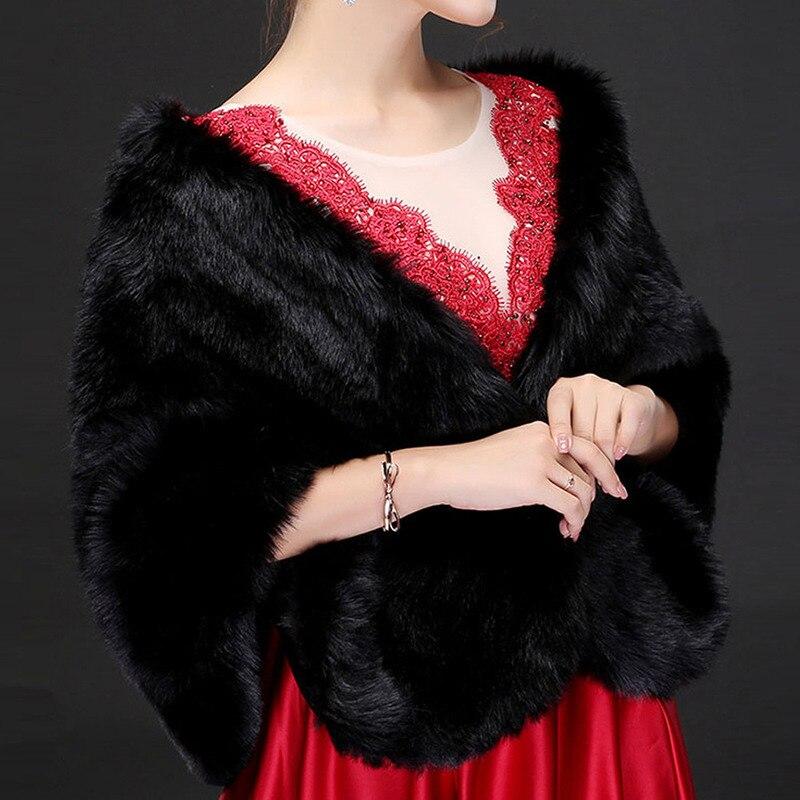 YULUOSHA Bridal Wraps Faux Fur Long Fur Bridal Velvet Shawl Wedding Dress White Coat Wedding Winter Fur Shawl Princess Cape