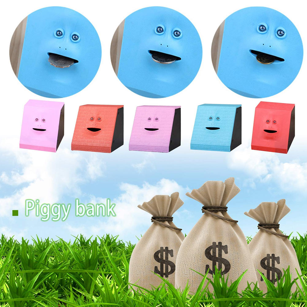 Face Money Eating Coin Bank Battery Powered Saving Box Kids Toys Gifts THIN889