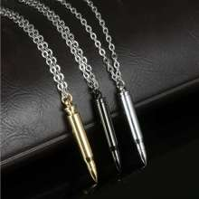 Men Titanium Steel Bullet Pendant Necklace so205