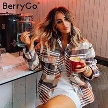 Berrygo 싱글 브레스트 여성 격자 무늬 자켓 코트 긴 소매 streetwear 특대 숙녀 코트 캐주얼 가을 outwear 여성 코트