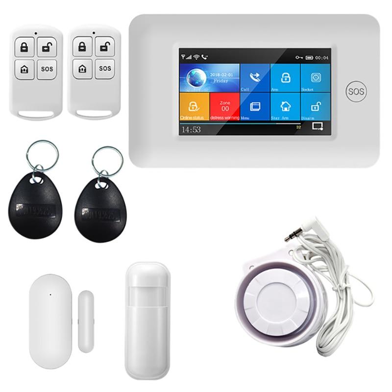 Touch Screen DIY Smart Home Security Alarm System Kit 433MHz WIFI GSM GPRS RFID Card Burglar Compatible EU Alexa EU Plug