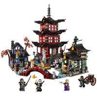 737 stücke Diy Ninja Tempel von Airjitzu Ninjagoes Kleinere Version Bausteine Set Kompatibel mit Legoinglys Spielzeug für Kinder Ziegel