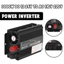 Pico do transformador de tensão 3000w dc 12/24v para ac 110v/220v carro led energia solar inversor onda senoidal conversor usb sobrecarga proteger