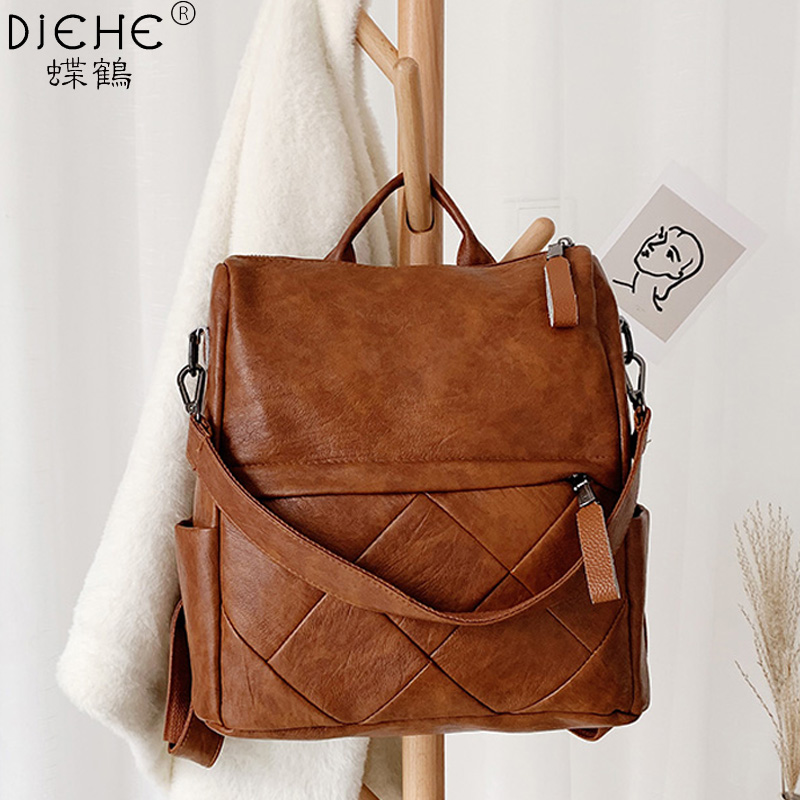 Fashion Women Backpack High Quality Soft Leather School Backpacks For Girls Female Casual Large Capacity Vintage Shoulder Bags