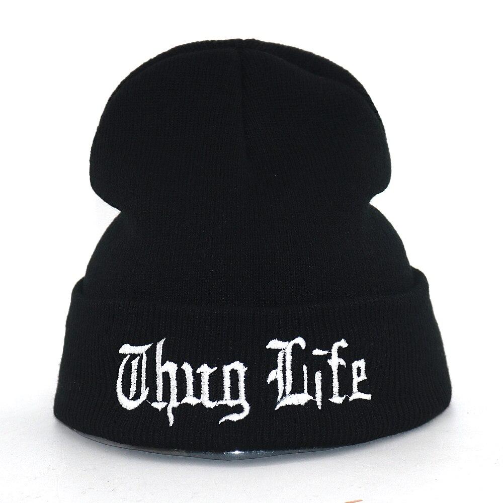 Thug Life Hat Letter Embroidery Cotton Warm Beanie Hats For Autumn Winter Flexible Soft Fashion Beanies Hip Hop Cap Unisex