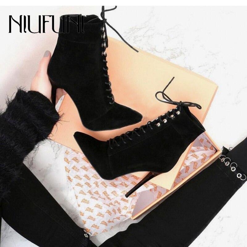 NIUFUNI Punk Women Ankle Strap Boots Rivet Zip Stiletto Lace Up Pointed Toe High Heels Black Chelsea Boots 12CM Shoes For Women