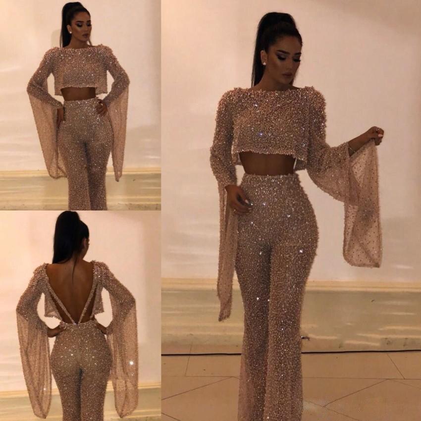 Bling Bling Gold Evening Dresses Two Pieces Vestido De Gala Vestidos De Fiesta De Noche Formal Prom Dress Gown ESAN225