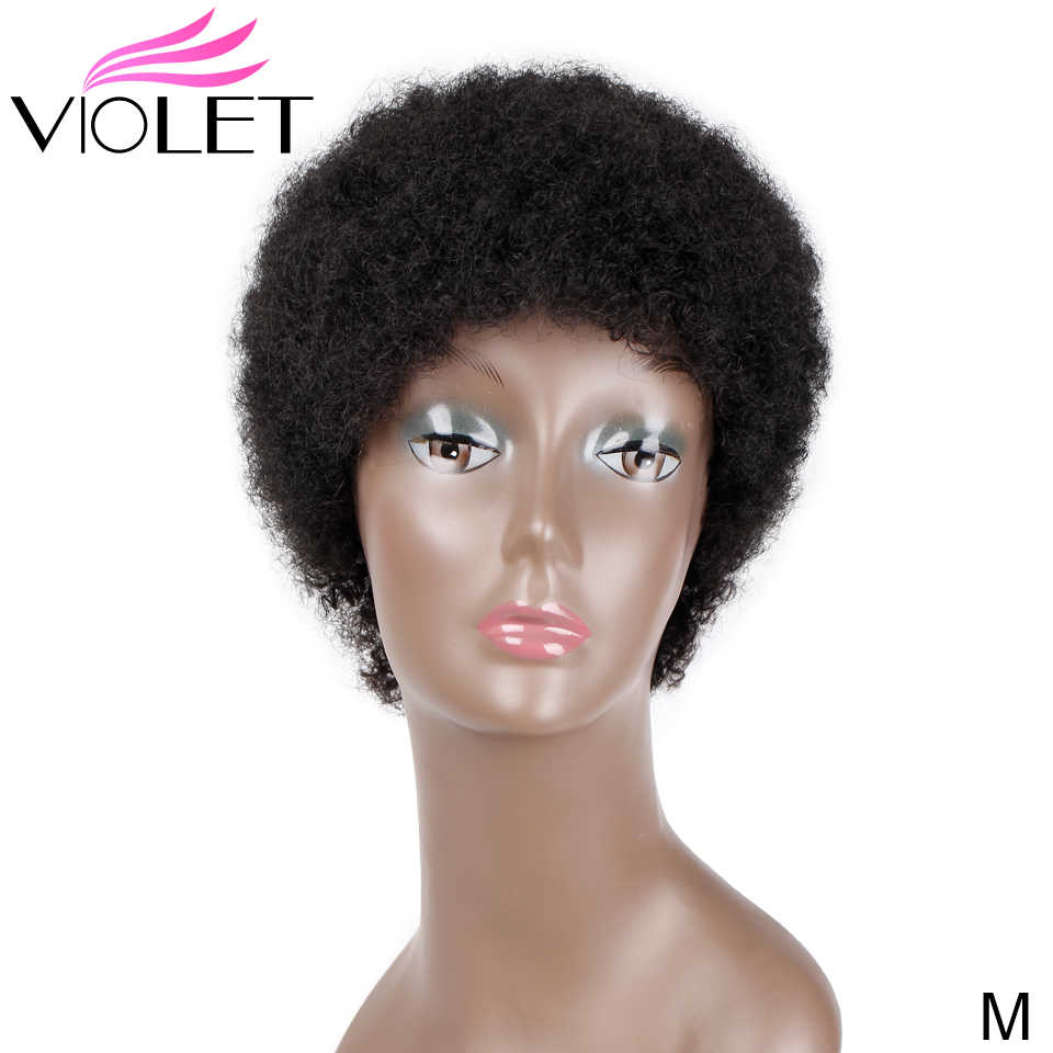 VIOLET Brazilian Short Curly Wig Middle Ratio 4 Inch Non-Remy Short Human Wig for Black Women 100% Human Hair Wig Natural Color