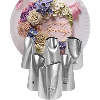 Płatek róży końcówki do szprycy cukierniczej zestaw dysze szpryc do ciasta dla dekorowanie ciast kuchenne narzędzia do pieczenia słodycze #61 #611 #120 #121 #123 #874 tanie i dobre opinie CN (pochodzenie) Na stanie Ekologiczne KBNP0195-Set Cake Nozzles Pastry Bag Icing Piping Nozzle Tools As picture 1 6pcs